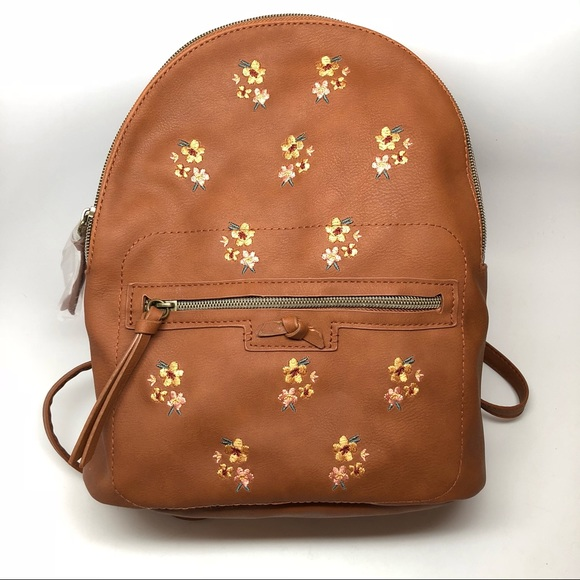 t-shirt & jeans Handbags - T-Shirt & Jeans Floral Embroidered Mini Backpack